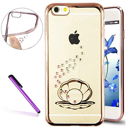 "Stylish 6S Case,iPhone 6 Case,EMAXELER Bling Swarovski Crystal Rhinestone Diamond Case for iPhone 6S,Plating Frame Flexible TPU Case for iPhone 6/6S(4.7"")Shell[Rose]"