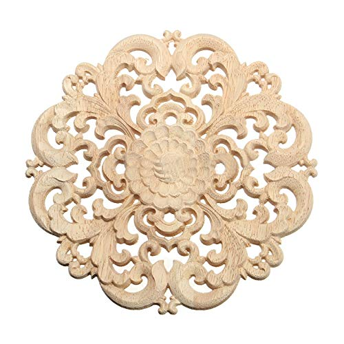 Wood Carving - Rubber Wood Carved Long Applique Unpainted Flower Walls Cabinets Door Decor Color - Files Guard Spoon Electric Computerized Carving Hand Journal Detail Stones Full Project Palm