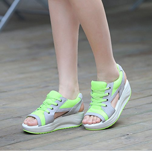 Zapatos De Mujer Cuña Sandalias Plataforma Malla Respirable Peep Toe Andar Deporte Zapatilla Verde