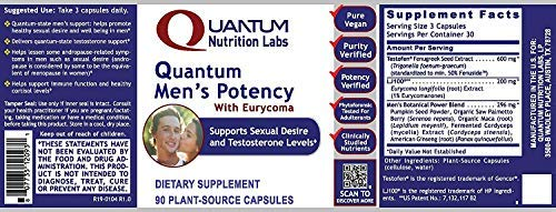 Quantum Nutrition Labs Men's Potency - 270 Caps - Premier Research Sexual Health & Desire Testosterone Within The Normal Range