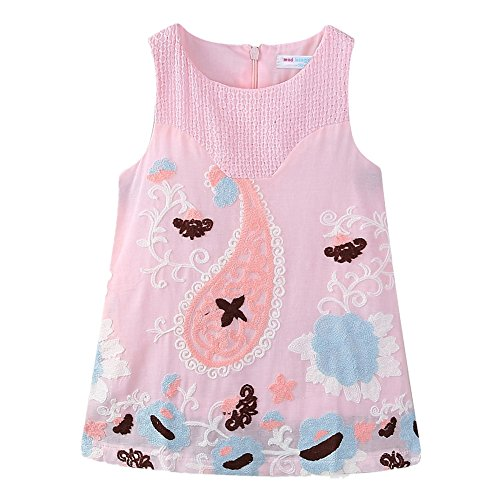LittleSpring Toddler Girls Beach Sundress Fish Embroidered Sleeveless Dress Pink 3T