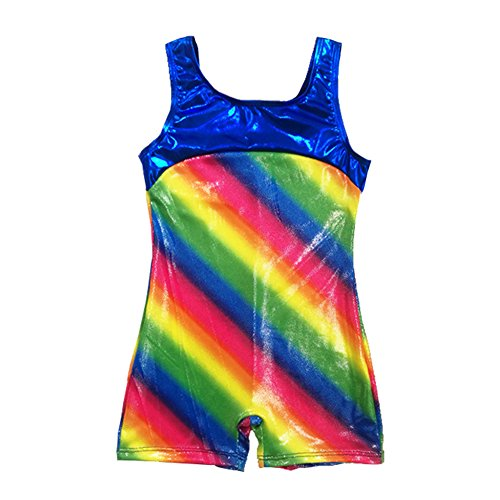 Rainbow Dance Gymnastics Biketard One-Piece Sparkle Athletic Sleeveless Tank Leotard Unitard For Toddler Girls Size (Biketard Dress)