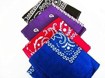 10f7173c6be5 Arpoador Lot de 4 Motif Cachemire Bandanas Noir Violet Bleu Rouge ...