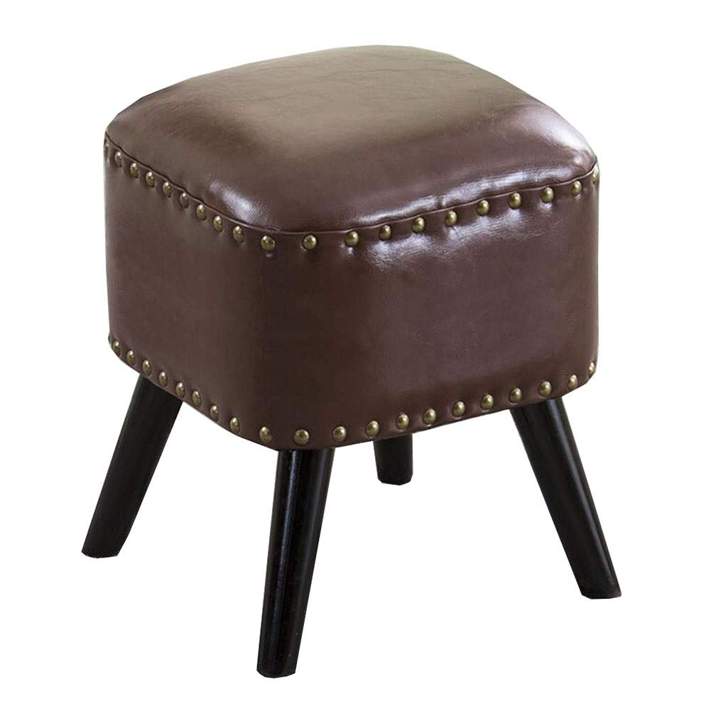 Brown 2 36×36×42cm Dall Footstool PU Seat shoes Bench Sofa Stool Wood Legs Square Small Stool Multifunctional, 8 colors (color   bluee, Size   36×36×42cm)