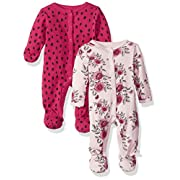 Rosie Pope Baby Girls 2 Pack Coveralls, Flowers/Animal Print, 0-3 Months