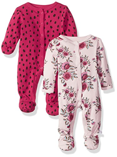 Rosie Pope Baby Girls 2 Pack Coveralls, Flowers/Animal Print, 6-9 Months