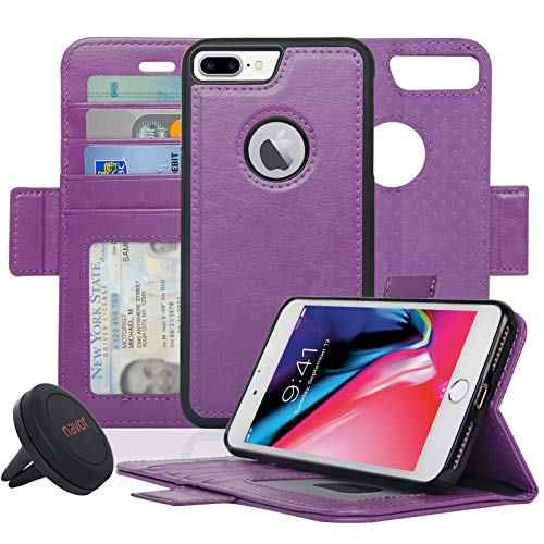 Navor Detachable Magnetic Wallet Case and Universal Car Mount Compatible for iPhone 8 Plus [RFID Protection] [Vajio Series]-Purple