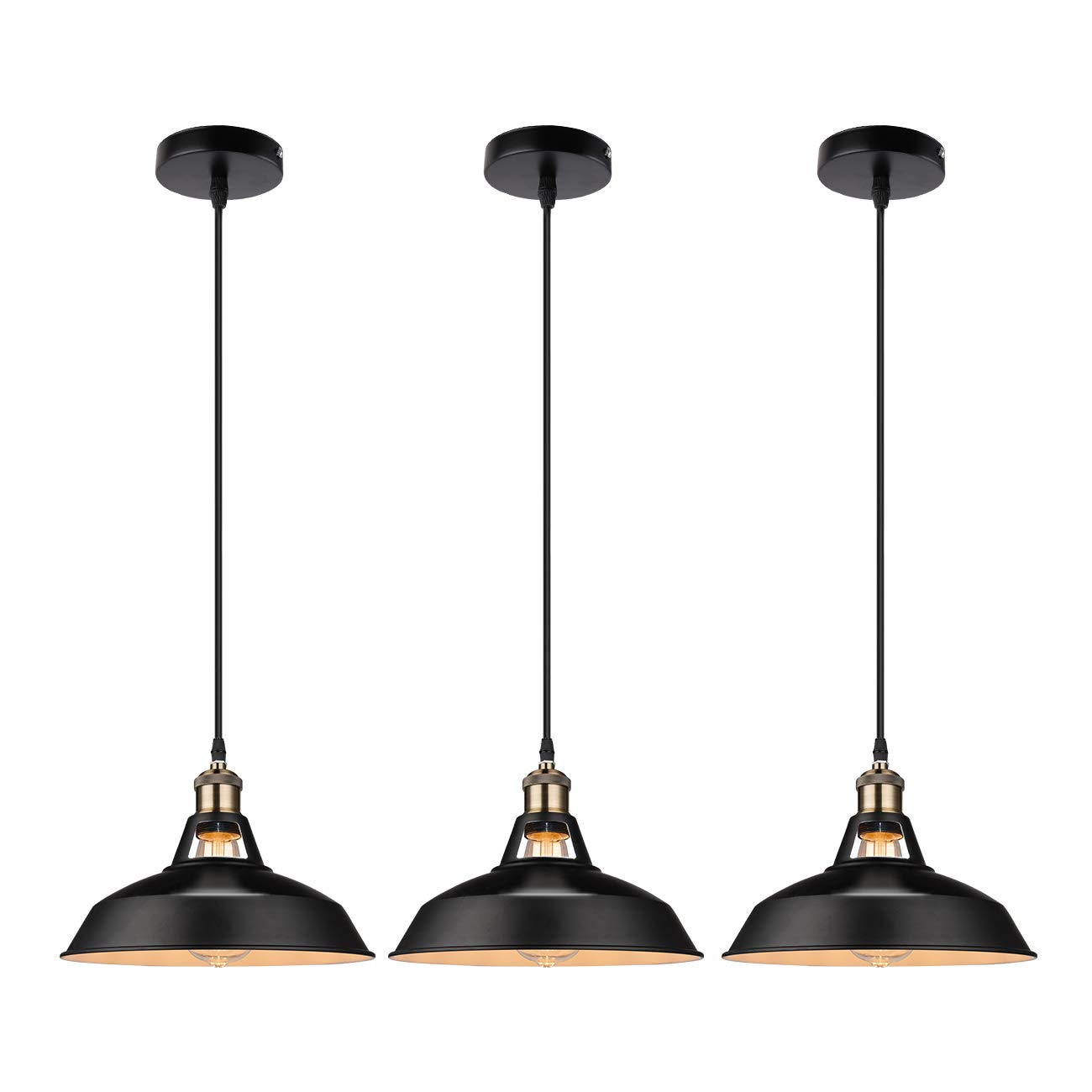 Galygg industrial retro pendant lighting outside black inside white metal shade ceiling hanging light fixtures 10 63 in diameter included led
