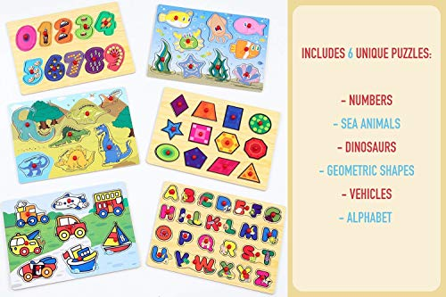 Etna Products Wooden Puzzles For Toddlers - 6 Colorful Wood Knob / Peg Puzzles, Ideal for Your Baby/Toddler - Fun & Educational - Includes Kids Alphabet Puzzle, ABC Puzzle, Shape Puzzle, Puzzle Rack by Etna (Image #2)