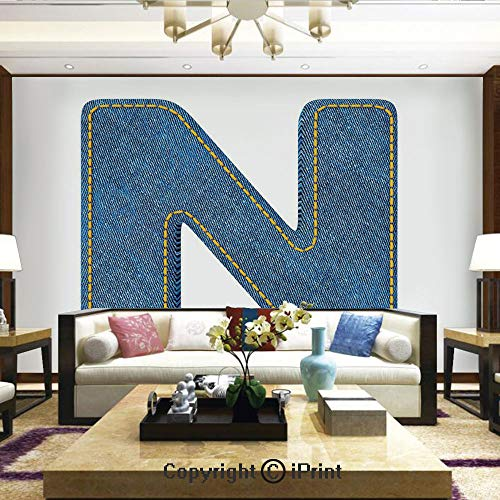 Lionpapa_mural Artistic Background Removable Wall Mural Self-Adhesive,N Uppercase Letter with Denim Alphabet Font Design Blue Jean Writing System Retro Decorative,Home Decor - 100x144 inches