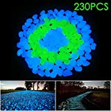 Beijimaoyi 230 Pcs Glowing Pebble,Glow in The Dark Pebble Garden Rocks Decorative Glowing Stones for Garden Path Lawn Yard Walkway Fountain Aquarium Fish Tank