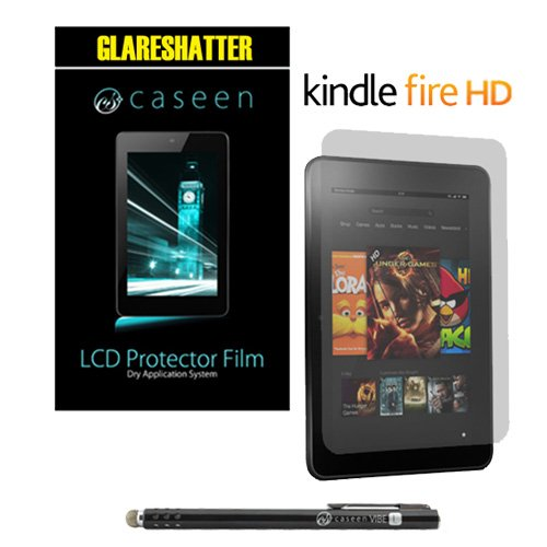 """caseen 2x Glareshatter Screen Protectors + caseen VIBE L Extra Long Stylus (Black) for Capacitive Touch Screens for Amazon Kindle Fire HD 7"""" Inch"""