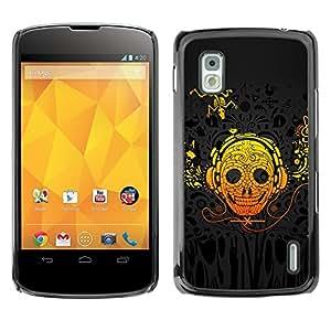 TopCaseStore / la caja del caucho duro de la cubierta de protección de la piel - Skull Art Headphones Skeleton Lizzard Yellow - LG Google Nexus 4 E960