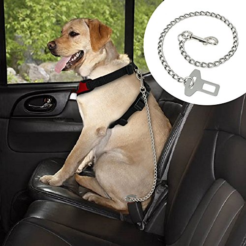 Metal Pet Car Safety Seat Belt Durable Stainless Steel Dog Chain Leash Silver Vehicle Seat Belt for Dogs Cats