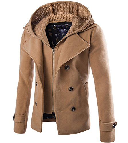 Mens Wool Blend Coat Double Breasted Winter Outwear Pea Coats With Hoodie Warm Jacket, Khaki, (Wool Peacoat Jacket)