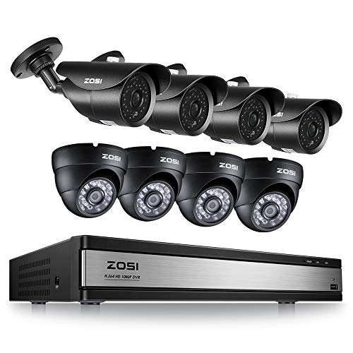 ZOSI 16Channel 1080P HD Security Camera System,16CH 4-in-1 DVR with 8pcs 2.0MP Waterproof Surveillance Cameras for 24/7 Recording & Remote Home Monitoring(NO Hard Drive)