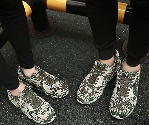 JOYTO Herren Damen Laufschuhe Paare Camo Leicht Air Tarnungs Sommer Sport Beiläufige Sneaker Weiß Grau Armeegrün Braun 36-46 Armeegrün