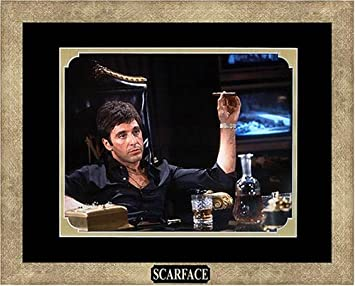 amazoncom scarface al pacino as tony montana with cigar framed photo in the custom made modern scratched gold wood frame 155 x 125 printmaking