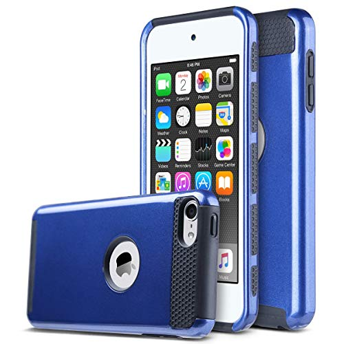 ULAK iPod Touch 7 Case, iPod Touch 6 Case, Slim Fit Dual Layer Hard PC Back+TPU Shockproof Interior Protective Case Cover for Apple iPod Touch 5th/6th/7th Generation, Navy Blue/Black (Touch Case And Black 5 Ipod Blue)