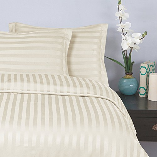 Elegant Comfort Silky-Soft 1500 Thread Count Egyptian Quality Wrinkle-Free 3-Piece Duvet Cover Set, King/Cal-King, (Ivory 1500 Thread)