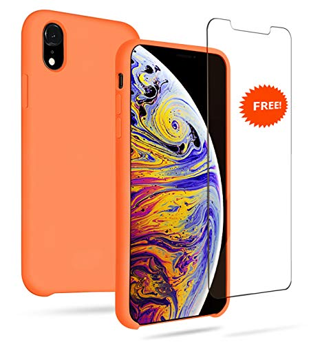 GARLEX-iPhone Xr Silicone Case,Liquid Gel Rubber Full Body Protection Shockproof Case (Include Free Screen Protector), Soft Microfiber Cloth Lining Cushion Compatible with iPhone Xr, Orange