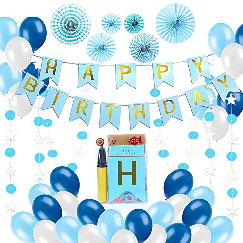 Birthday Decorations for Men & Women, Happy Birthday Banner & Balloons, Best Party Kit Supplies, 30 Birthday Balloons Blue and White with Inflator, 6 Pom pom Fans, 40 Star & Circle Garlands