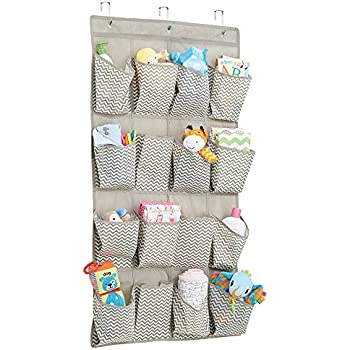 mDesign Chevron Fabric Baby Nursery Closet Organizer for Diapers Pacifiers Toys Wipes - Over Door 16 Pockets Taupe/Natural