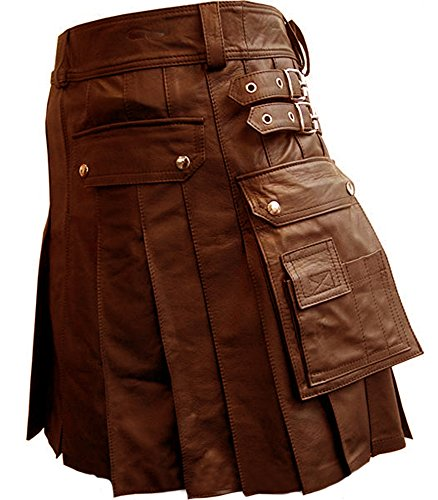 [Mens Real Black or Brown Leather Gladiator Pleated Utility Kilt LARP (K5) (W 34