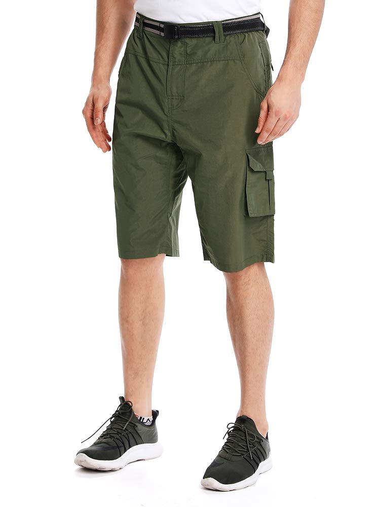 Men's Outdoor Tactical Shorts Lightweight Expandable Waist Cargo Shorts with Multi Pockets Quick Dry Water Resistant,#3506,ArmyGreen,US 32 by Toomett