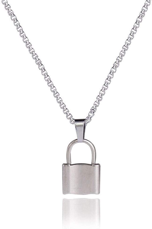 Mujeres Accesorios con cerraduras vendimia geométricos, collares pendientes, cadenas simples de la perla, collares en forma de cadena de acero inoxidable Compromiso ( Color : Lock necklace Zz2 )