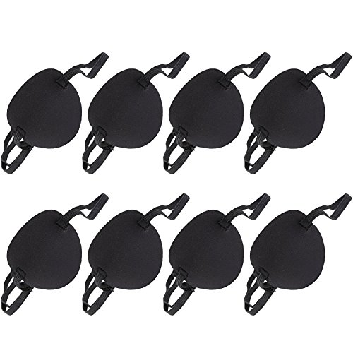 Boao 8 Pieces Adjustable Sponge Eye Patch Strabismus Eye Mask with Buckle for Adults and Kids, Black