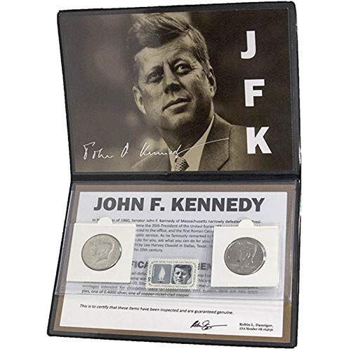 JOHN F KENNEDY 2 COIN & STAMP SET in Album with Story Card and COA - 1 Silver Half Dollar, 1 Clad Half Dollar and 1964 Commemorative Stamp JFK