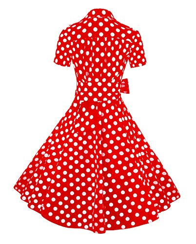 Sleeves Dress White XXX Rockabilly Large Retro Vintage 1950s Cocktail Short Red Killreal Polka with Women's Dot na8qPHWSgO