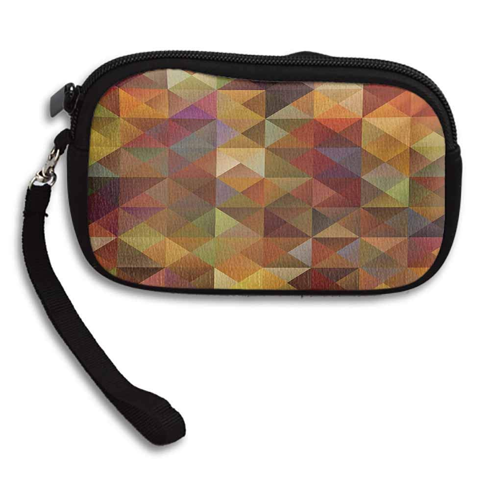 Colorful Clutch Abstract Art Grid Mosaic Geometric Creative Image Triangle Artwork Print W 5.9x L 3.7 Change Purse With Zipper For Women