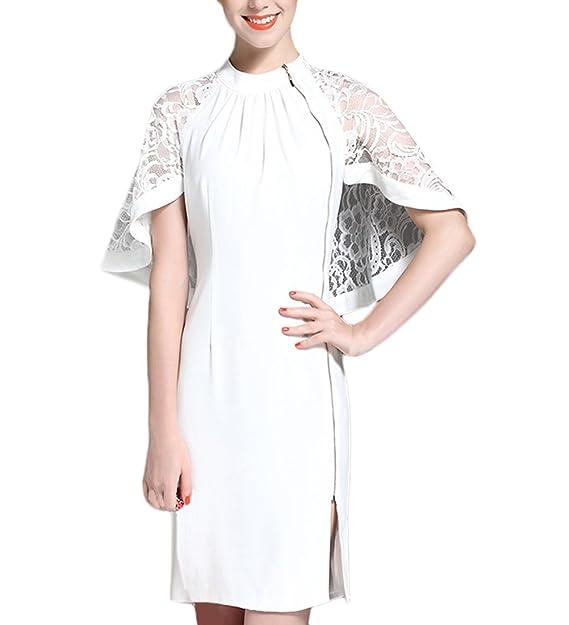 Vestidos De Fiesta Cortos Mujer Elegante Verano Manga Corta Cuello Redondo Cremallera Splice Encaje Chal Vestido