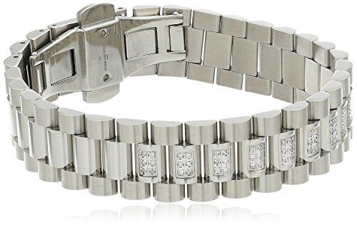 Men's Diamond Stainless Steel Barrel Link Bracelet (1/2cttw, I-J Color, I2-I3 Clarity), (Barrel Link Bracelet)