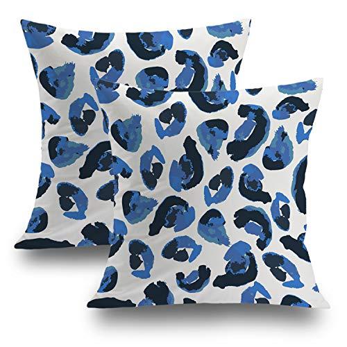 Shrahala Watercolor Tribal Decorative Pillow Covers 18x18 Set of 2, Animal Print Leopard Spots Blue Black Cushion Case for Sofa Bedroom Car Throw Pillow Covers Cushion Cover 45cm x 45cm (Leopard Black Cover)