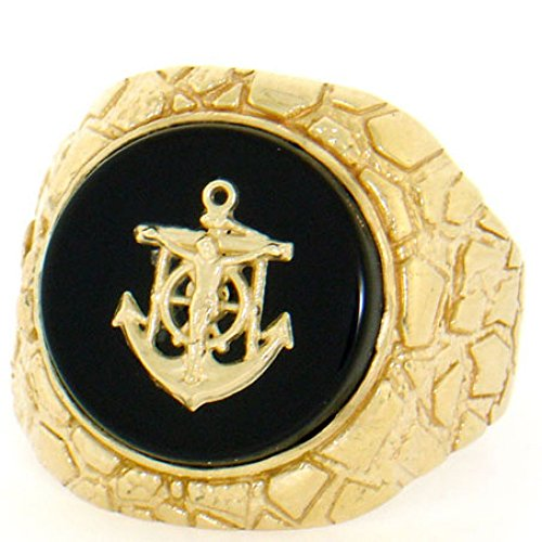 (14k Solid Yellow Gold Nugget Anchor Oval Onyx Mens Ring)