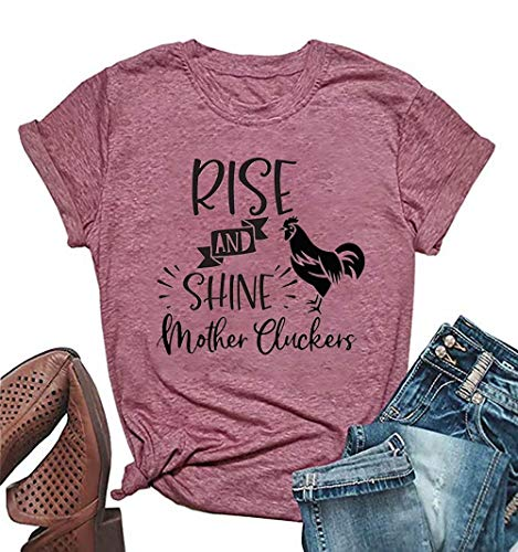 Rise and Shine Mother Chicken Graphic Cute T Shirts Women's Letter Print Farm Country Casual Tees Tops (Small, Pink1)