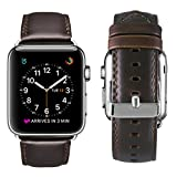 Apple Watch Band 42mm, OUHENG Retro Vintage Genuine Leather iWatch Strap Replacement for Apple Watch Series 3 Series 2 Series 1, Dark Brown