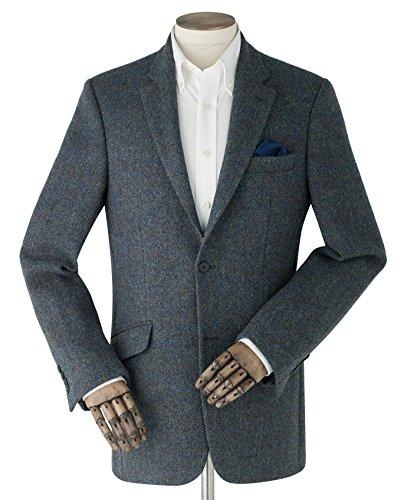 Savile Row Men's Blue Herringbone Harris Tweed Jacket 40