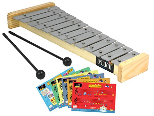 D'Luca TL-13-2 13 Notes Children Xylophone Glockenspiels with Music Cards by D'Luca