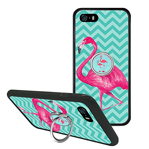 Davidmasonrise Compatible iPhone SE 5s 5 Pink Flamingo Phone Case Phone Grip Stand Holder, if Applicable