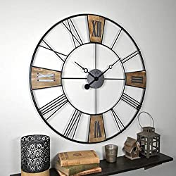 FirsTime & Co. 00264 Reclaimed Plaques Wall Clock, 29, Black