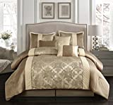 Nanshing America Montage 7 Piece Comforter Set, Queen, Taupe