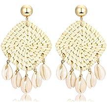Rattan Shell Earrings Handmade Straw Wicker Braid Woven Drop Earrings Boho Cowrie Shell Chandelier Statement Dangle Stud Earrings for Women Girls