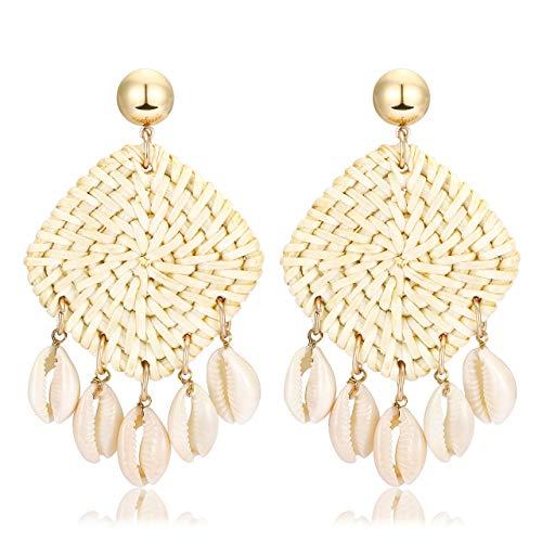 (Seni Rattan Shell Earrings Handmade Straw Wicker Braid Woven Drop Earrings Boho Cowrie Shell Chandelier Statement Dangle Stud Earrings for Women Girls)