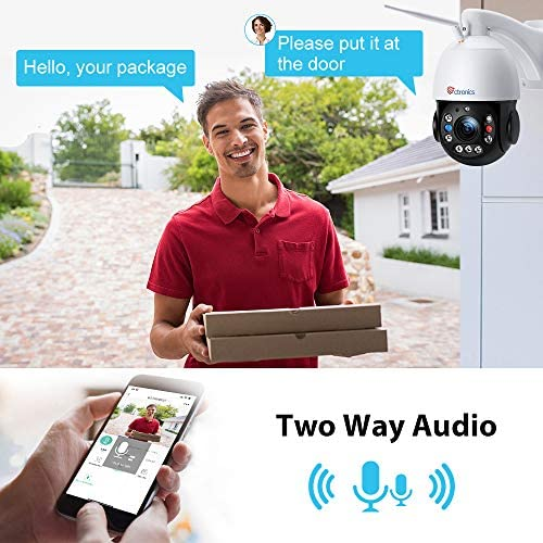 CTRONICS PTZ CAMERA SECURITY CAMERA OUTDOOR 5MP 30X OPTICAL ZOOM, 492FT NIGHT VISION WITH LASER IR LIGHT WIFI SECURITY CAMERA HUMAN DETECTION & AUTO TRACKING SOUND LIGHT ALARM TWO-WAY AUDIO IP66