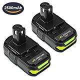#6: Dosctt 2 Pack 2.5Ah P102 Battery for Ryobi 18V One Plus Lithium-ion Battery One+ Compact 18 Volt Power Cordless Tools P103 P105 P107 P108 P109 P122