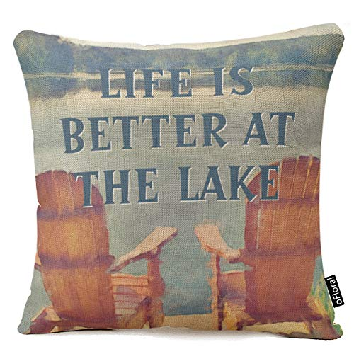 oFloral Life is Better at Lake Watercolor Painting Home Throw Pillow Case Pillow Case Covers Decorative Cover for Sofa 18X18 Inches (Pillows Lake Throw)